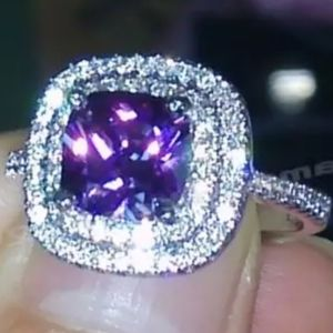 PURPLE CUSHION AMETHYST DIAMOND DOUBLE HALO RING